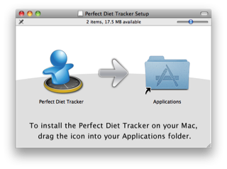 Drag the Perfect Diet Tracker to your Applications folder