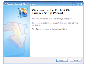 The Windows setup wizard will walk you through the installation of the Perfect Diet Tracker.