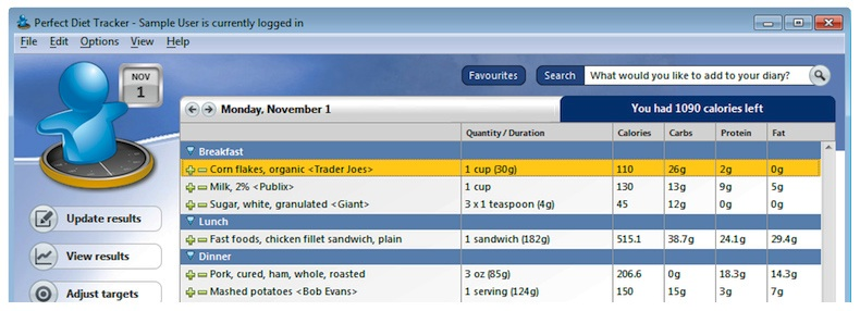 Diet diary for Windows. Add food & exercise. Let the software keep track of your calories.
