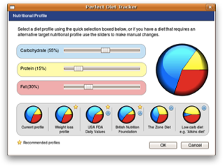 Select a nutritional profile from a range a pre-sets or enter your own.  Ubuntu screenshot.