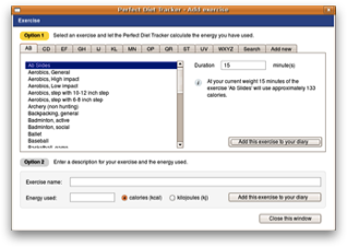 Add exercise to the diet diary (Ubuntu Linux screenshot)