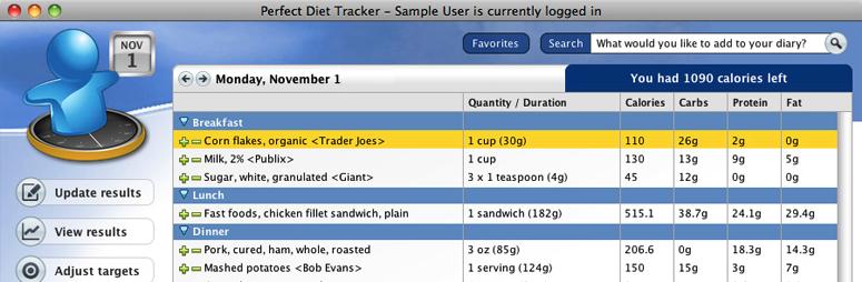 Perfect Diet Tracker for Mac