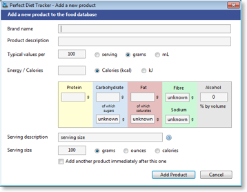 Adding a new food product to the database is easy! Windows.  Global input.
