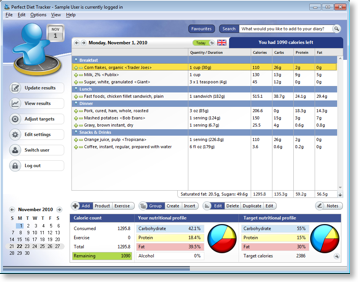 Full view of the main diary. Let the software count calories for you.  Quick glance nutritional profiles.