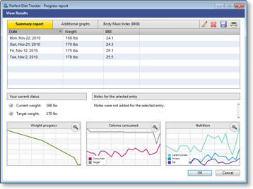 Track your weight loss results and progress. Windows.