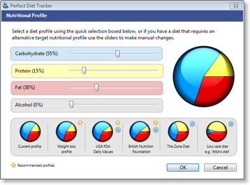 Set a custom nutritional profile, or use a preset diet option. Windows screenshot.