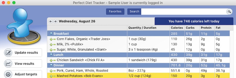 The Perfect Diet Tracker diary.  Keep a daily log of food and exercise.  Let the app count the calories for you.