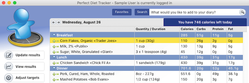 Perfect Diet Tracker main screen. Keep a daily food diary, let the software count calories for you.